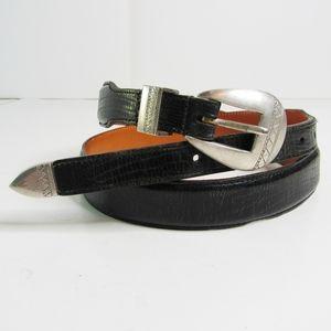 "Martin Dingman Black Leather Tapered Belt Size 38"""